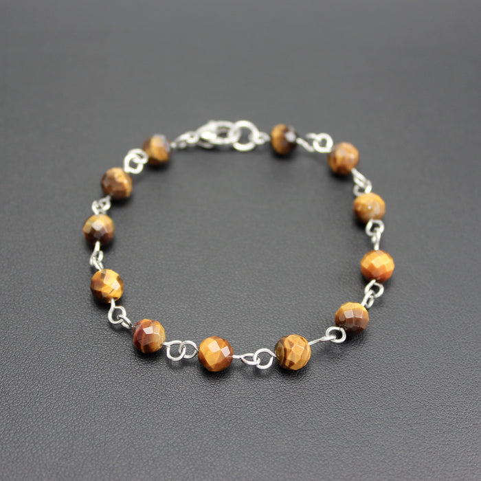 Mens | Stainless Steel & Tigers Eye Linked Bracelet
