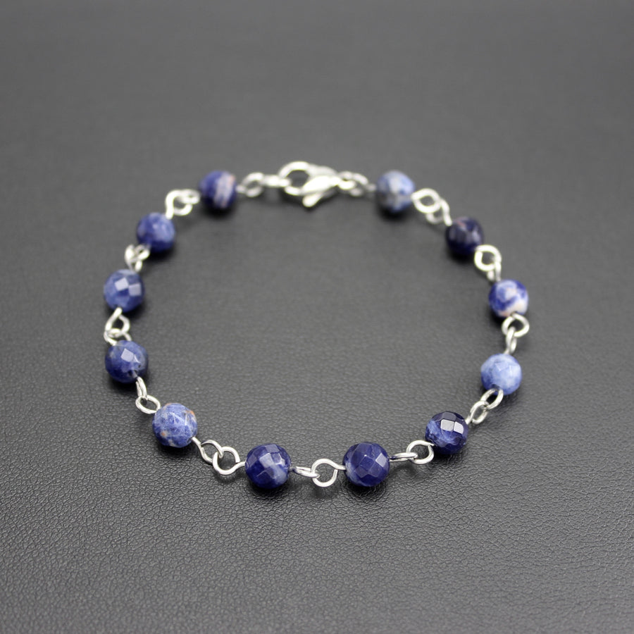 Mens | Stainless Steel + Sodalite Linked Bracelet