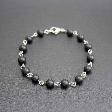 Mens | Stainless Steel + Matte Black Onyx Linked Bracelet