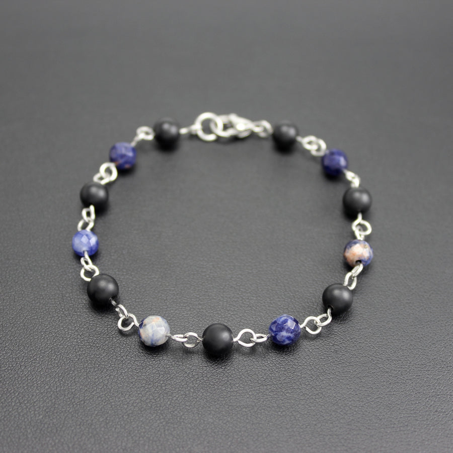 Mens | Stainless Steel, Onyx + Sodalite Linked Bracelet