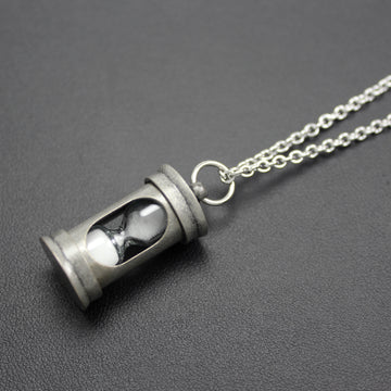 Mens | Antique Silver Hourglass Pendant Necklace