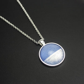 Samba Silver Linings Medium Pendant Necklace (Silver & Royal Blue)