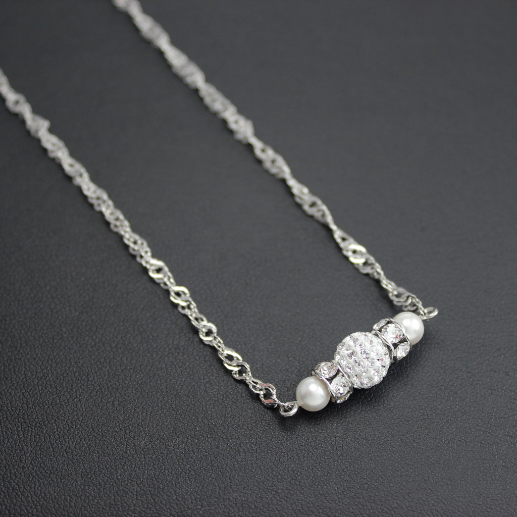 1398114531a Classical Petite Luxe Swarovski Crystal & Pearl Necklace