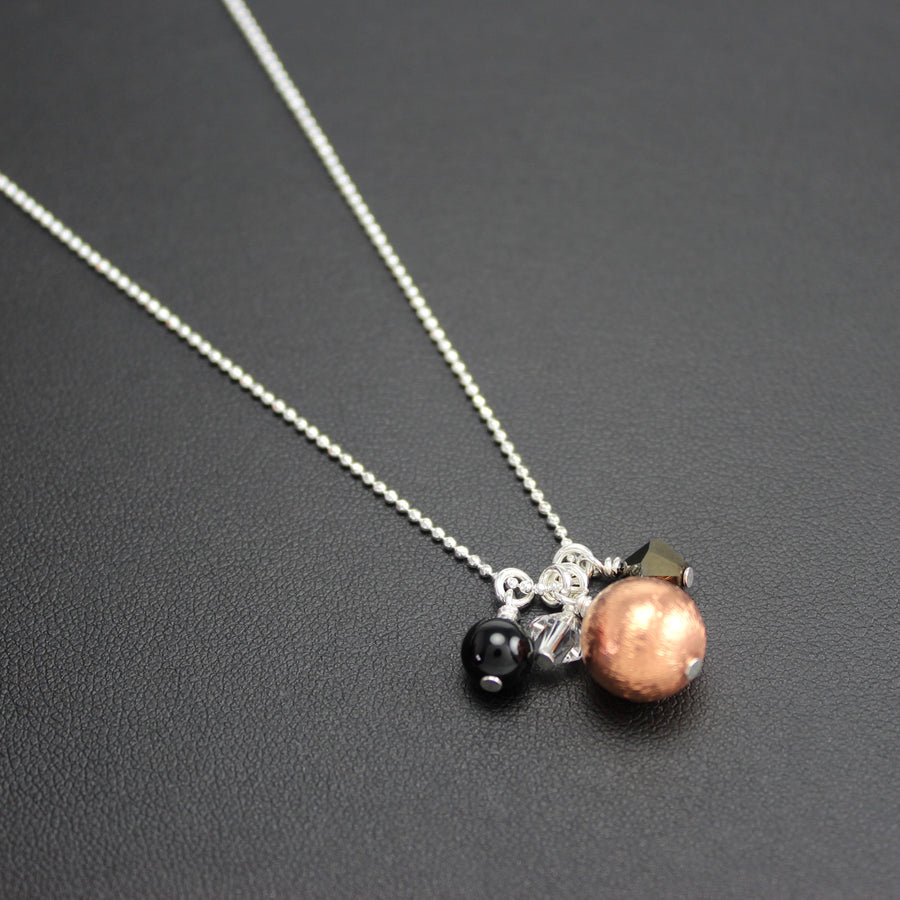 Bolero Cluster Necklace with Copper, Black Onyx and Swarovski Crystal
