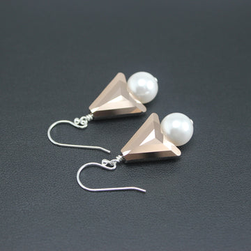 Reserved for Trish - Contemporary Swarovski Crystal Symmetrical/Pearl Set