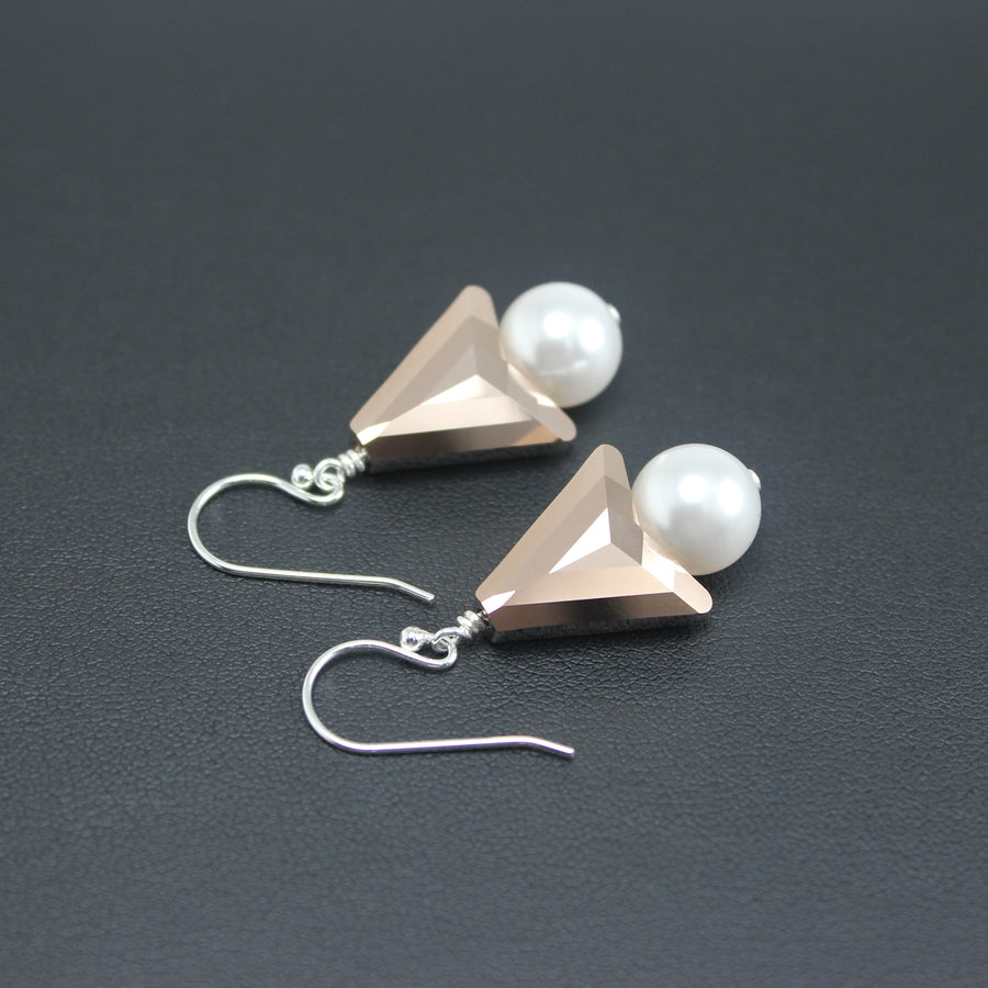 Contemporary Swarovski Crystal Symmetrical/Pearl Earrings