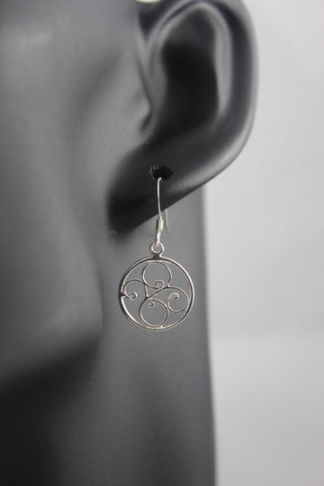 Contemporary Filigree Sterling Silver Earrings (Round)