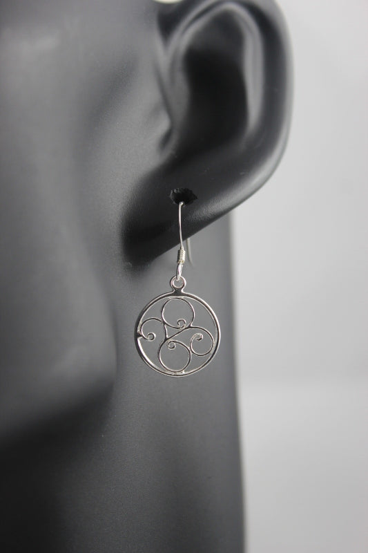 Ballet Filigree Sterling Silver Earrings (Round)