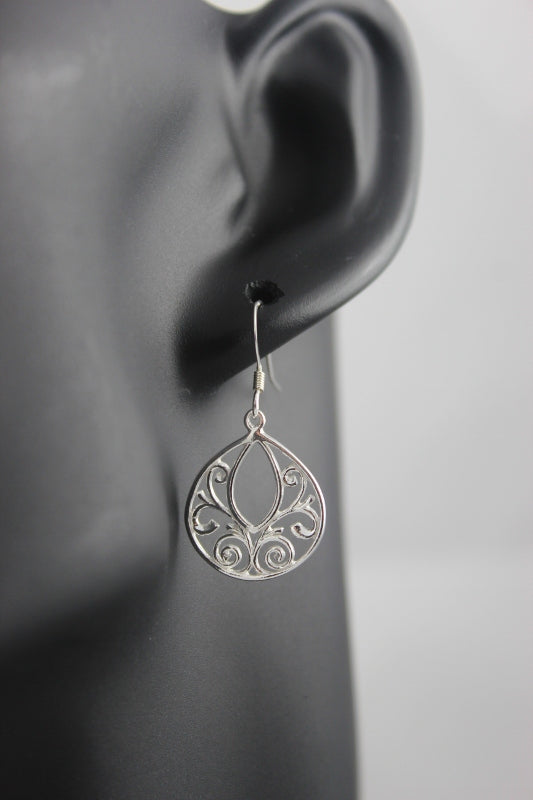Ballet Filigree Earrings Sterling Silver (Teardrop)