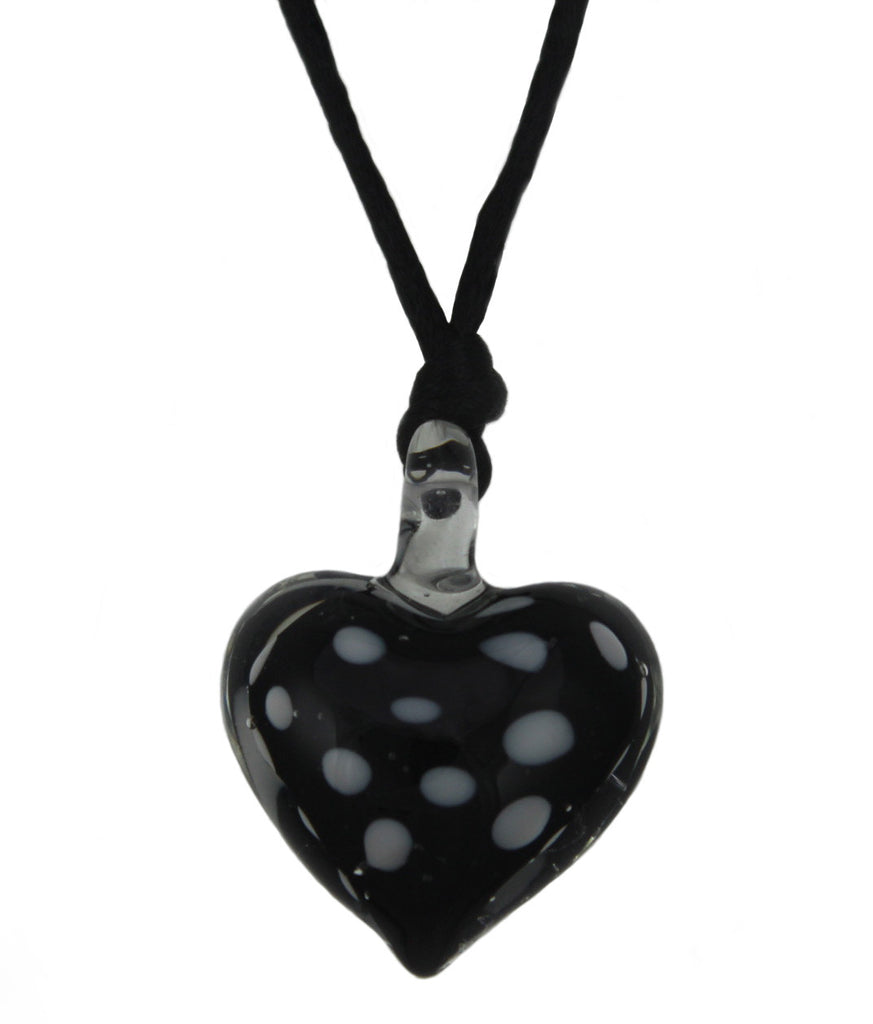 Lindy Hop Dalmation Heart Pendant Necklace (Black)