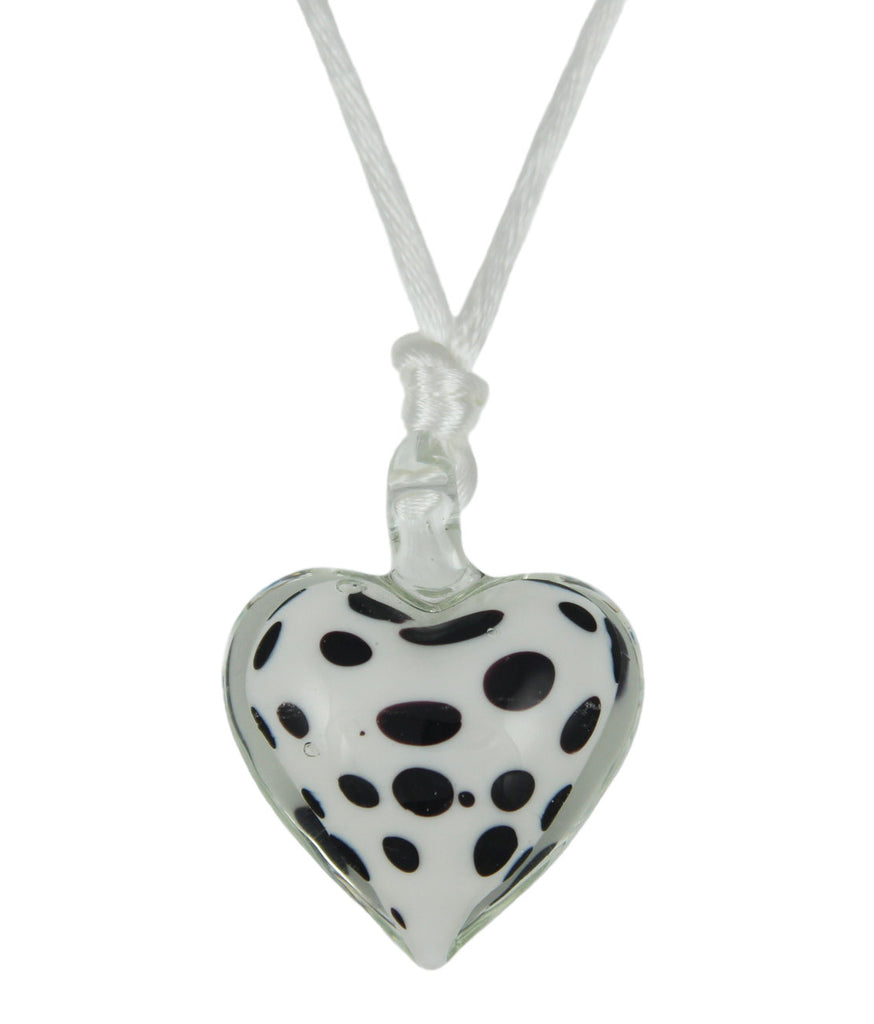 Lindy Hop Dalmation Heart Pendant Necklace (White)
