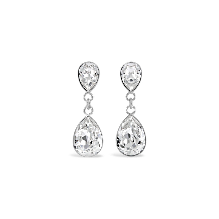 Ceroc Swarovski Droplet Stud Earrings (Crystal Clear)
