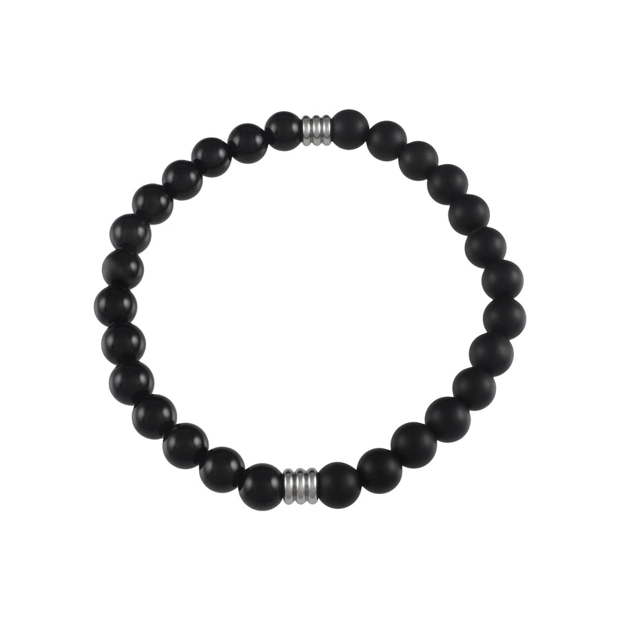 Mens | Slim Onyx + Matte Onyx Divided Bracelet