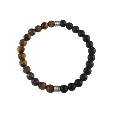 Mens | Slim Tigerseye + Matte Onyx Divided Bracelet