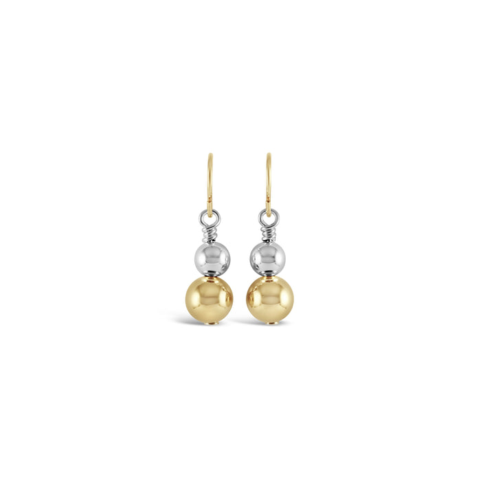 Contemporary Gold & Silver Duo Drop Earrings