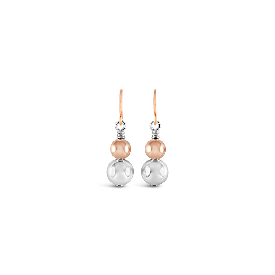 Contemporary Rose Gold & Silver Duo Drop Earrings