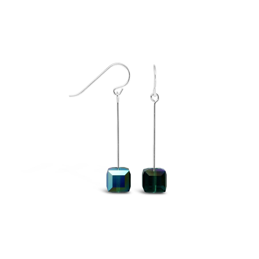 Tango Sterling Silver & Swarovski Cube Drop Earrings (Emerald)