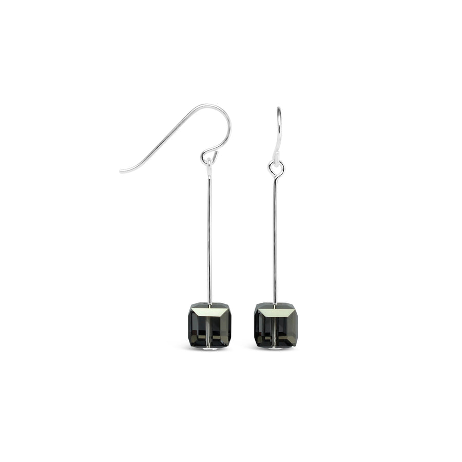 Tango Sterling Silver & Swarovski Cube Drop Earrings (Silver Nights)