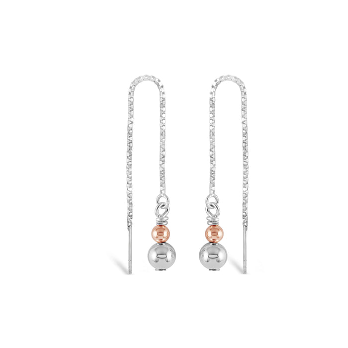 Contemporary Rose Gold & Silver Duo Thread Earrings