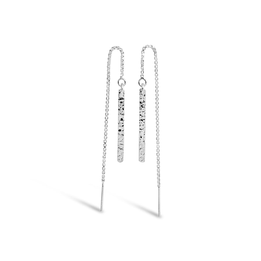 Contemporary Hammered Silver Bar Thread Earrings