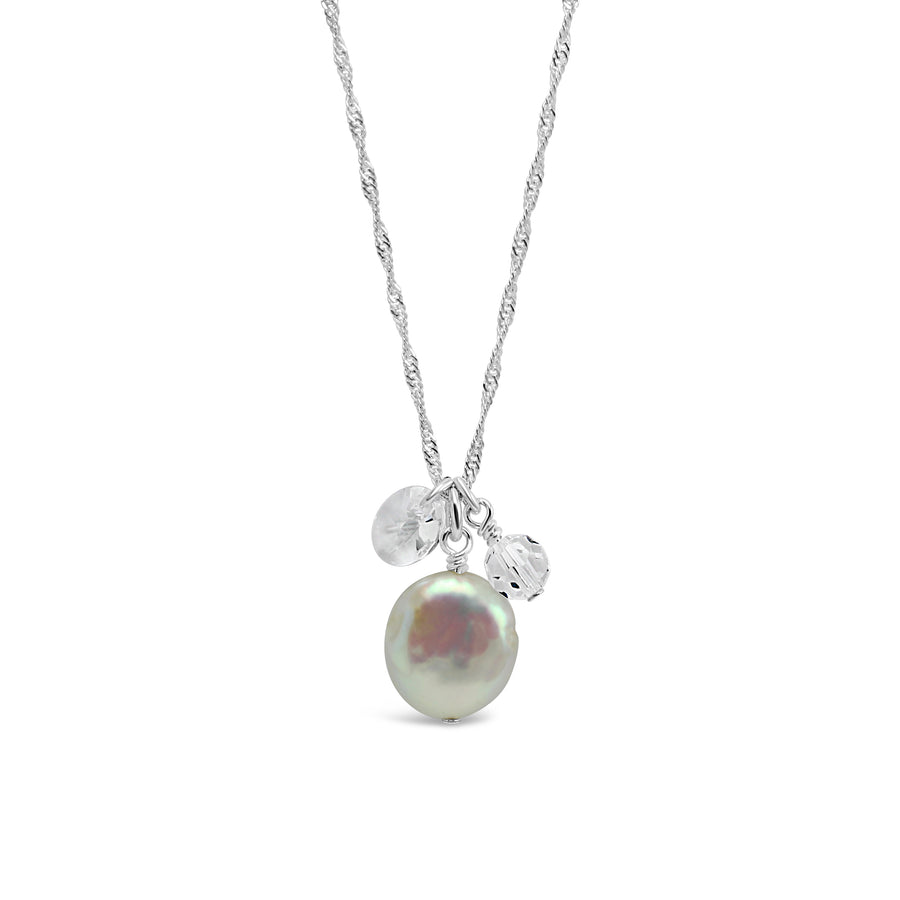 Waltz Cluster Necklace with Freshwater Pearl and Swarovski Crystals