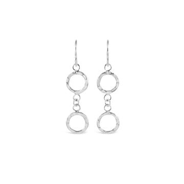 Contemporary Hammered Silver Double Ring Earrings
