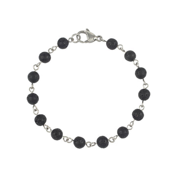 Mens | Stainless Steel + Lava Stone Linked Bracelet