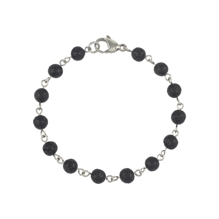 Copy of Mens | Stainless Steel + Lava Stone Linked Bracelet