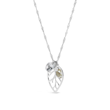 Waltz Cluster Necklace with Sterling Silver Leaf, Pearl and Swarovski Crystal