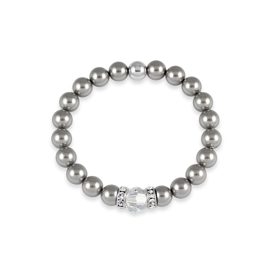 Classical Luxe Swarovski Pearl Stretch Bracelet (Silver)