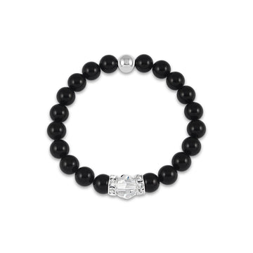Classical Luxe Gemstone Stretch Bracelet (Black Onyx)