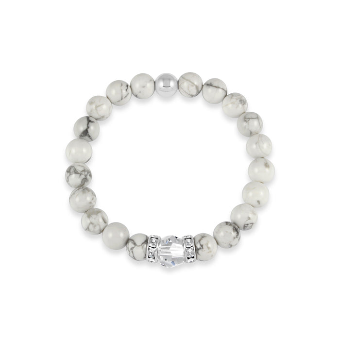Classical Luxe Gemstone Stretch Bracelet (Marble Howlite)