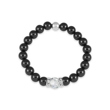 Classical Luxe Swarovski Pearl Stretch Bracelet (Charcoal)