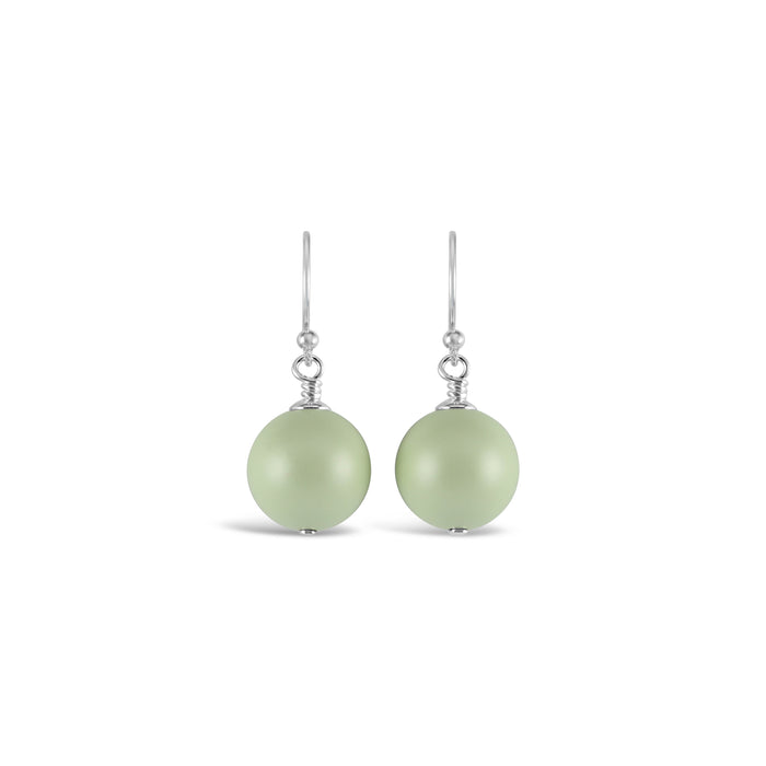 Ballet Bud Drop Pearl Earrings (Pastel Green)