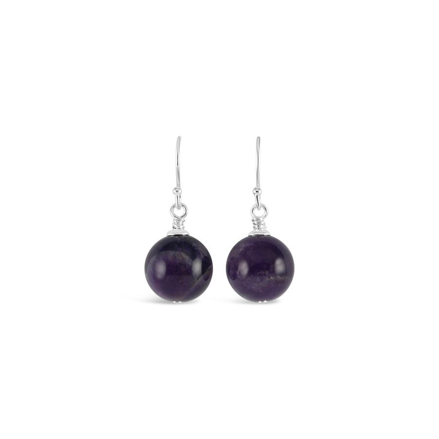 Vogue Sterling Silver Bud Drop Gemstone Earrings (Amethyst)