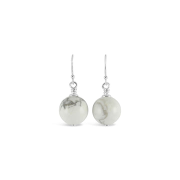 Vogue Sterling Silver Bud Drop Gemstone Earrings (Marble Howlite)