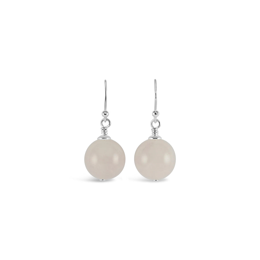 Vogue Sterling Silver Bud Drop Gemstone Earrings (Rose Quartz)
