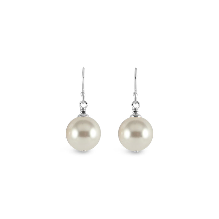 Vogue Sterling Silver Bud Drop Pearl Earrings (White)