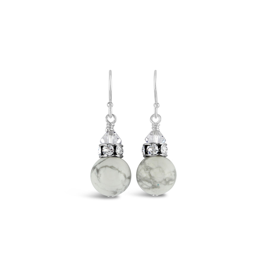 Classical Gemstone Luxe Earrings (Marble Howlite)