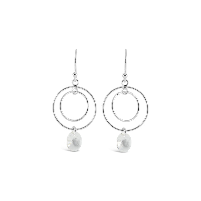 Contemporary Double Ring Charm Crystal Earrings