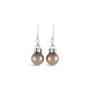 Classical Luxe Swarovski Pearl Earrings (Powdered Almond)