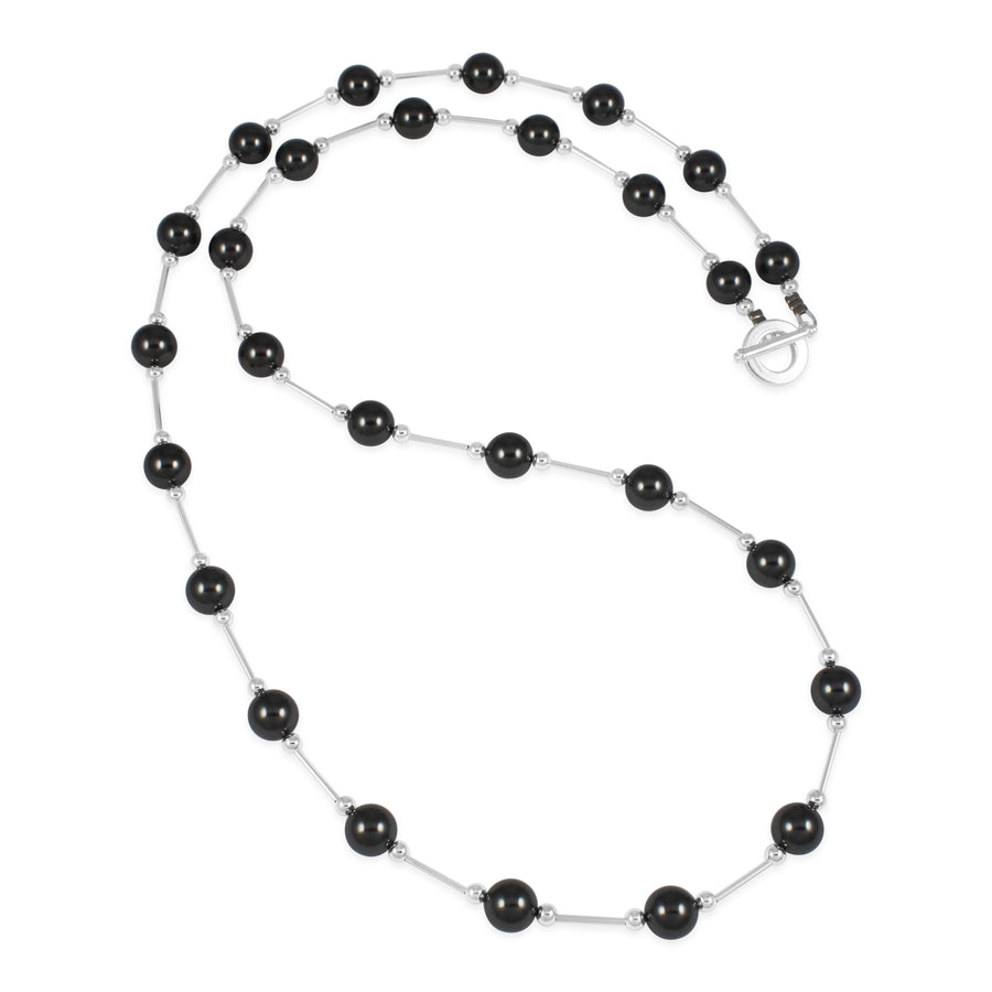 Vogue Charcoal Pearl Long Neckace