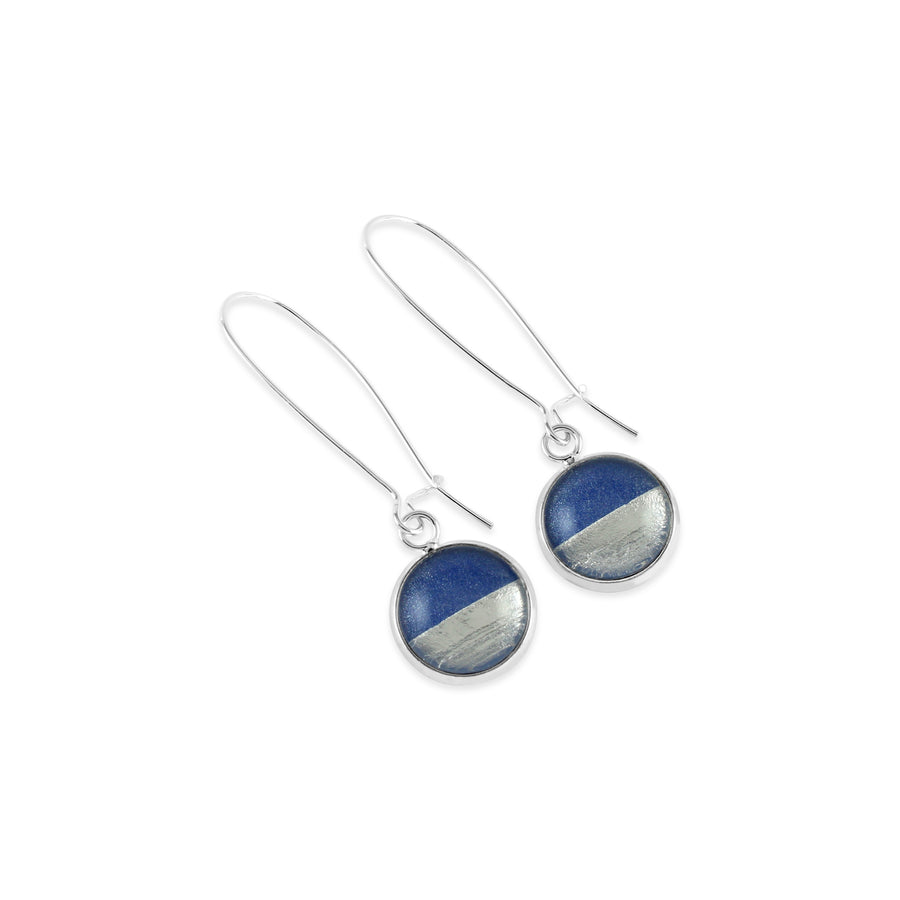 Samba Silver Linings Elongated Drop Earrings (Silver & Royal Blue)