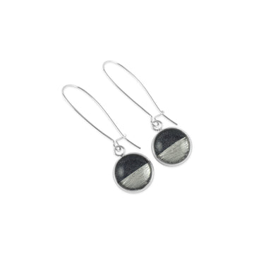 Samba Silver Linings Elongated Drop Earrings (Silver & Charcoal)