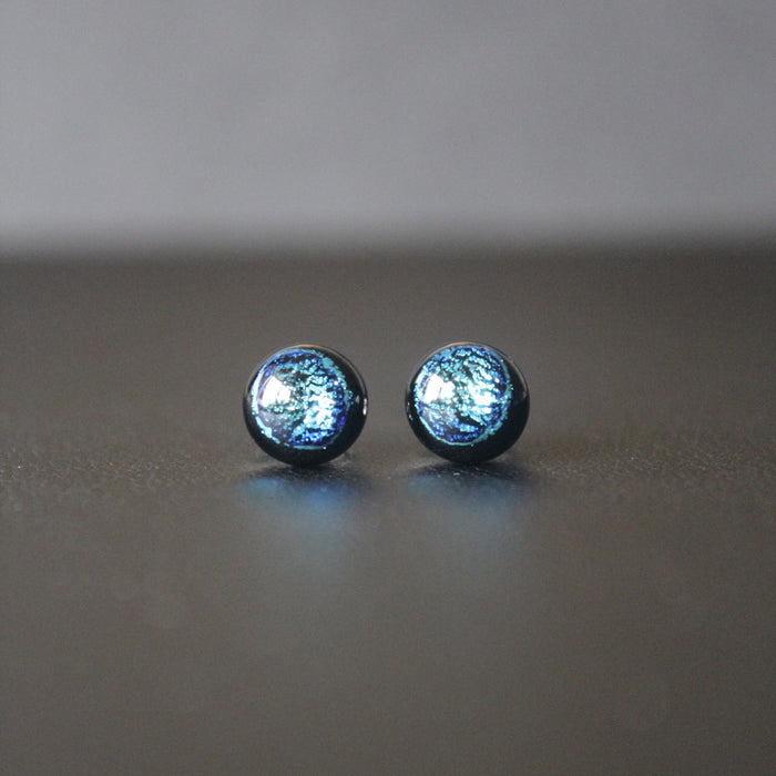 Jazz Petite Sterling Silver & Dichroic Glass Stud Earrings (Silver Blue)