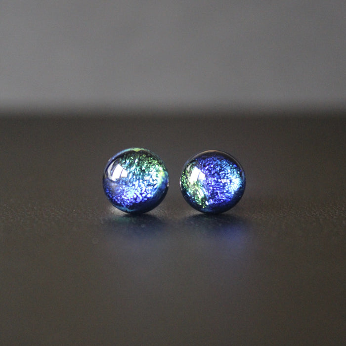 Jazz Petite Sterling Silver & Dichroic Glass Stud Earrings (Blue/Emerald)