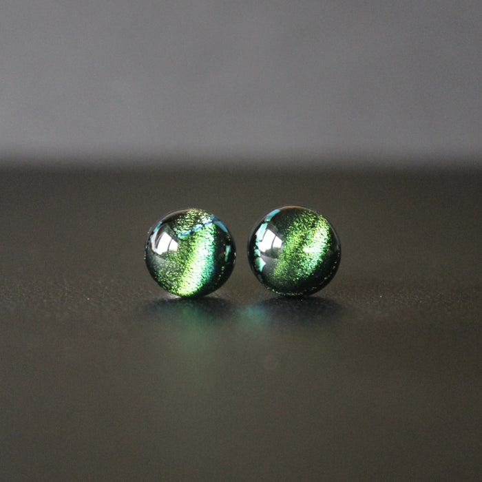 Jazz Petite Sterling Silver & Dichroic Glass Stud Earrings (Emerald Green)