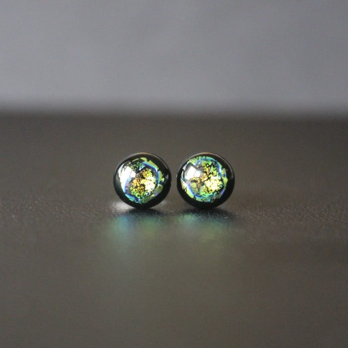 Jazz Petite Sterling Silver & Dichroic Glass Stud Earrings (Green/Gold)
