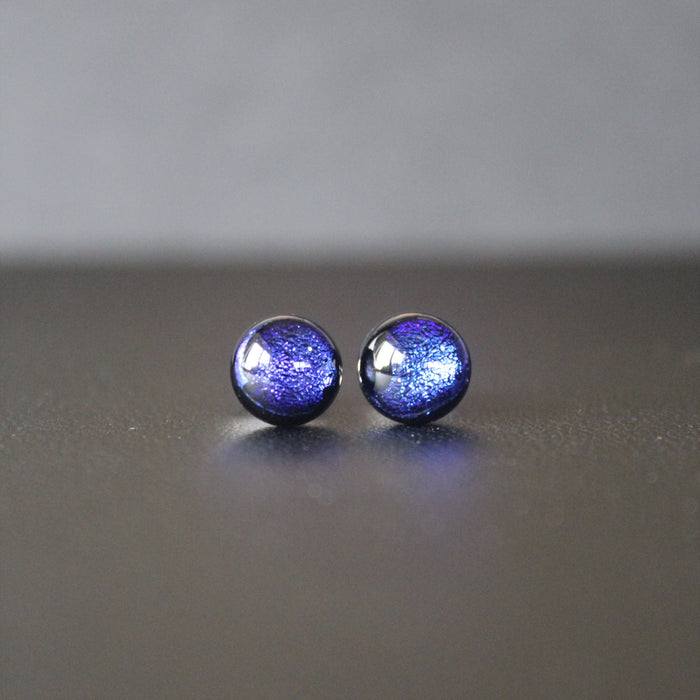 Jazz Petite Sterling Silver & Dichroic Glass Stud Earrings (Cobalt Blue)