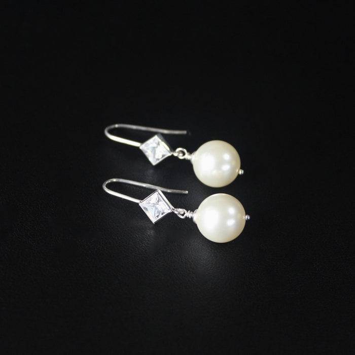 Ballroom Diamond CZ & Pearl Sterling Silver Earrings (Ivory)
